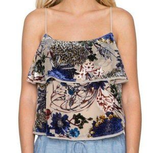 Willow & Clay floral Velvet Burnout tank top